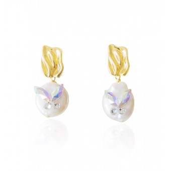 Valerie Chic - Stechpalmen Perlen Ohrringe - 18 Karat vergoldet, Swarovski Kristallen