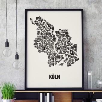 Buchstabenort Köln Stadtteile-Poster Typografie Siebdruck