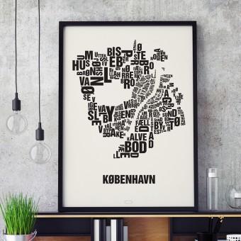 Buchstabenort Kopenhagen København Stadtteile-Poster Siebdruck Typografie