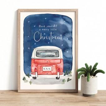 Paperlandscape | Aquarell Kunstdruck | Camper Weihnachtshimmel | Din A5 | verschiedene Farben