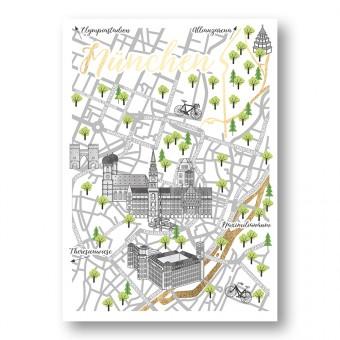Martina Olonschek | Stadtkarte Straßenkarte Postkarte München mit Goldfolie | 4er-Set