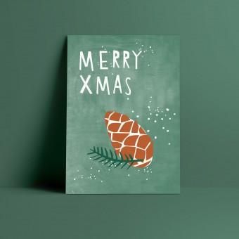 Designfräulein // Weihnachtskarte // Merry Xmas grün