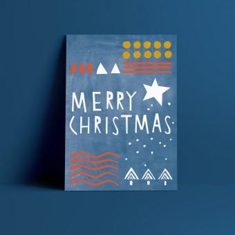 Designfräulein // Weihnachtskarte // Merry Christmas blau
