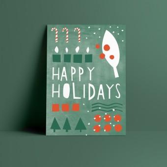 Designfräulein // Weihnachtskarte // Happy Holidays grün