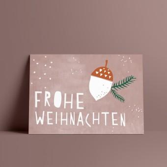 Designfräulein // Weihnachtskarte // Frohe Weihnachten rosa