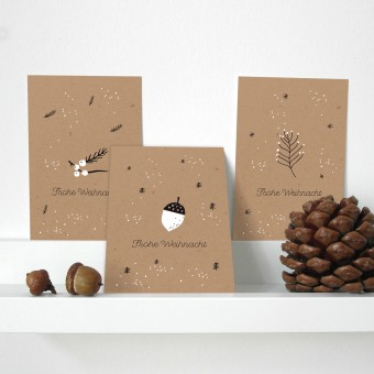 Designfräulein // Weihnachtskarten // 3er-Set // White Berries