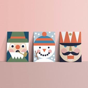 Designfräulein // Weihnachtskarten »Nussknackerbande« // Postkartenset // 3er-Set