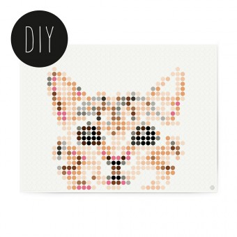 dot on art / cat – DIY-Kunstwerk zum Selberkleben / 30x40 cm