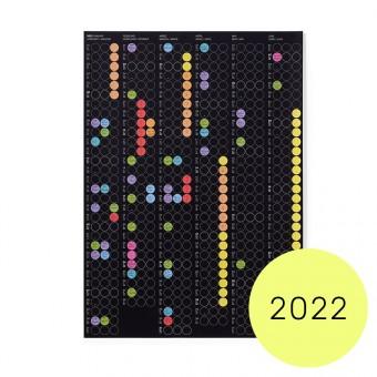 dot on half / Halbjahresplaner 2022 – mit Klebepunkten in 12 Farben