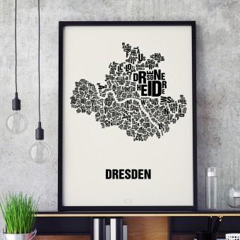 Buchstabenort Dresden Stadtteile-Poster Typografie Siebdruck