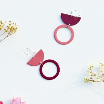 stahlpink – Nachhaltige asymmetrische Ohrringe: LU