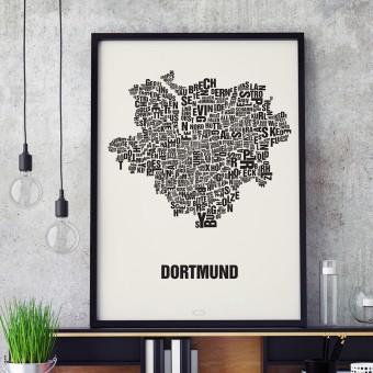 Buchstabenort Dortmund Stadtteile-Poster Typografie Siebdruck