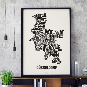 Buchstabenort Düsseldorf Stadtteile-Poster Typografie Siebdruck