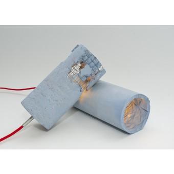 LJ LAMPS delta blau - moderne Hängeleuchte aus Beton mit Textilkabel