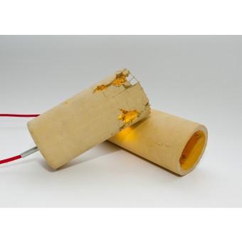 LJ LAMPS delta gelb - moderne Hängeleuchte aus Beton mit Textilkabel