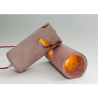 LJ LAMPS delta rot - moderne Hängeleuchte aus Beton mit Textilkabel