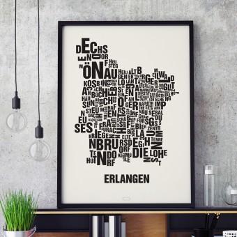 Buchstabenort Erlangen Stadtteile-Poster Typografie Siebdruck