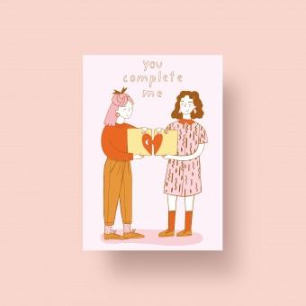 "Notietzblock Postkarte ""You complete me"" A6"