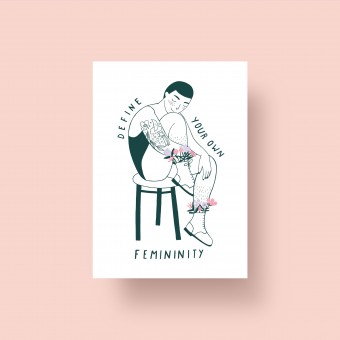 "Notietzblock Postkarte ""Define your own femininity"", A6"