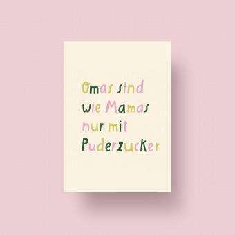 "Notietzblock Postkarte ""Omas sind wie Mamas nur mit Puderzucker"""