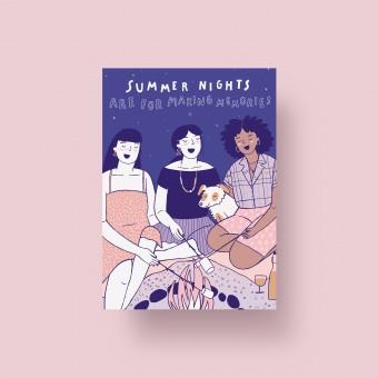 Notietzblock Postkarte Summer Nights, A6