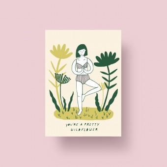 "Notietzblock Postkarte ""You're a pretty wildflower"", A6"
