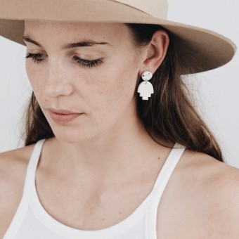 EVE + ADIS // HAMSA MINI HAND EARRINGS speckled