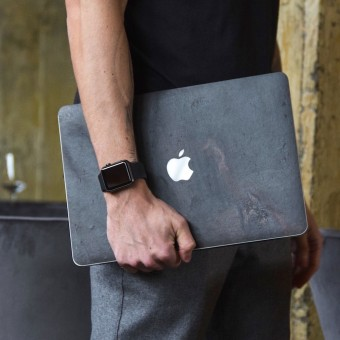 "Woodcessories - EcoSkin Stone - Design Apple Macbook Cover, Skin, Schutz für das Macbook aus hochwertigem Stein (Macbook 13"" Pro Retina (until 2016), Volcano Schwarz, Camo Grau, Antik Weiß, Canyon Rot)"