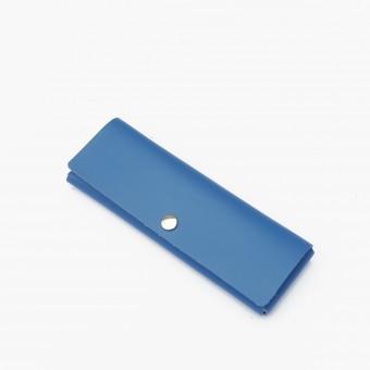 EINFACHDESIGN Stiftemäppchen, Lederetui, Mäppchen, kleine Ledertasche Echtleder blau, gesteckt