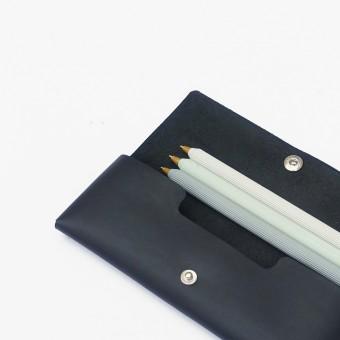 EINFACHDESIGN Stiftemäppchen, Lederetui, Mäppchen, kleine Ledertasche Echtleder schwarz, gesteckt