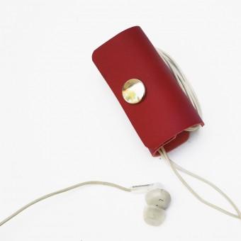 EINFACHDESIGN Kopfhörer Headset Organizer, Kopfhörertasche, Leder Rot Tasche Leder Rot