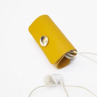 EINFACHDESIGN Kopfhörer, Headset Organizer, Tasche, Kopfhörertasche, Leder Gelb
