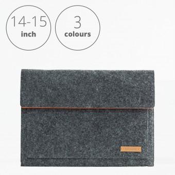 RÅVARE Laptop Notebock Sleeve Case Hülle mit Klettlasche für verschiedene Modelle in Größe L und in verschiedenen Farben [ESMA L]