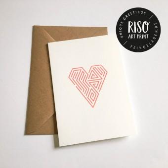 Feingeladen // LINE ART // Heart (FR)Klappkarte, A6