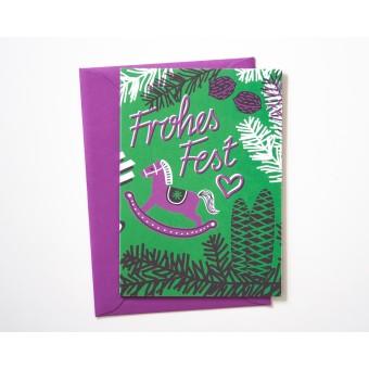 Weihnachtskarte »Frohes Fest« grün/lila // Papaya paper products