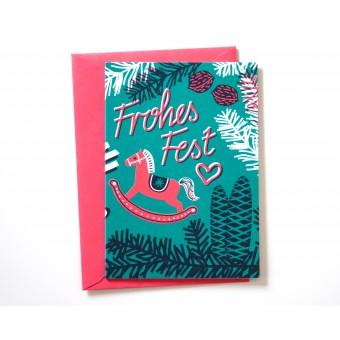 Weihnachtskarte »Frohes Fest« türkis/pink // Papaya paper products