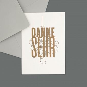 Feingeladen // FANCY TYPE // Danke sehr (GD) // RISO-Klappkarte, A6