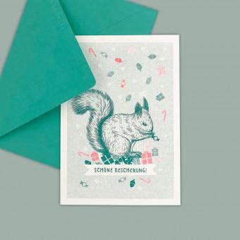 Feingeladen // LOVELY BEASTS // Squirrel »Schöne Bescherung!« (TLFR) // RISO-Klappkarte, A6