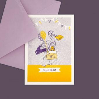 Feingeladen // LOVELY BEASTS // Stork »Hello Baby« (PPSF) // RISO-Klappkarte, A6