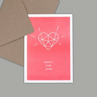 Feingeladen // SIMPLY DIVINE // Heart »Happily ever after« (FR) // RISO-Klappkarte, A6