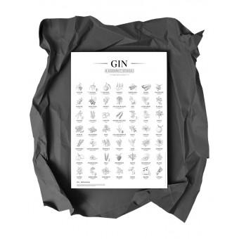 Gin Plakat, 49 ausgewählte Botanicals, Schwarz-Weiß, Format: A2 von Kupferstecher.Art