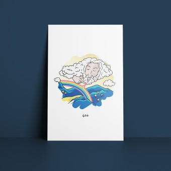 GOD. [Rainbow] – Illustrierte Design-Postkarte