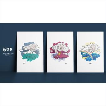 GOD. [3er Set] – Illustrierte Design-Postkarten im Set