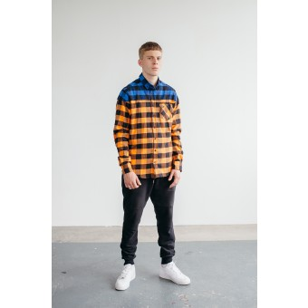 Goodbois Flannel Button Down Shirt orange/royal