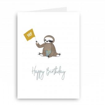 melike Grußkarte Faultier Happy Birthday