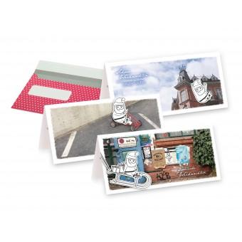 Frau Schnobel Grafik 3D-Weihnachtskarten aus Naturpapier mit Umschlag (3er)