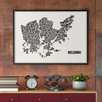 Buchstabenort Helsinki Stadtteile-Poster Typografie Siebdruck