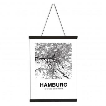 Stadtliebe® | Hamburg Karte Poster DIN A2 inkl. Magnetische Posterleiste im Set.