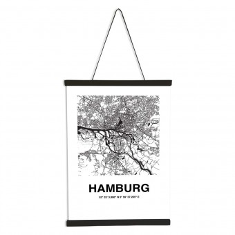 Stadtliebe® | Hamburg Karte Poster DIN A3 inkl. Magnetische Posterleiste im Set.