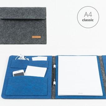 RÅVARE Dokumententasche Dokumentenmappe für A4-Dokumente und Tablet ≤12.3″ in grau-blau [HELLA]